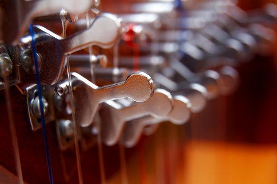 Irish harp music instrument closeup. Blur background.