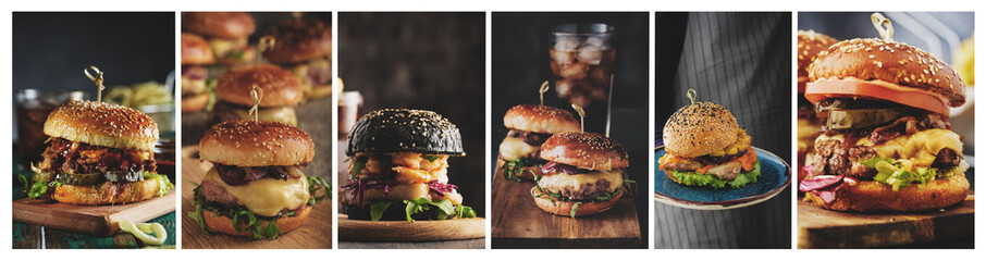 A collage of Home burgers in a rustic style. Fish burger, cheeseburger, pulled burger and burger with pineapple
