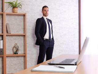 businessman satisfied in his work.