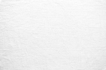 White grunge canvas background. White linen fabric texture. Abstract woven surface.