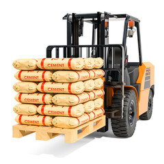 Forklift truck with cement bags, 3D rendering