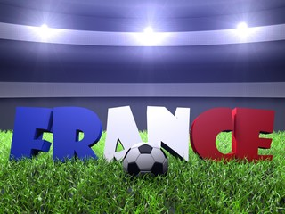 3D rendering of france word puted on the green grass