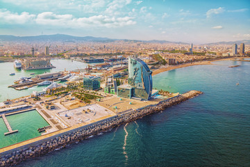 Barcelona aerial, city skyline panorama and the beach, Spain
