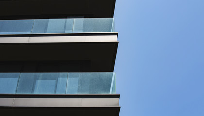 Part of the building against the blue sky in Tel Aviv.