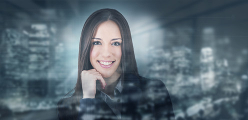 modern business woman with night city background