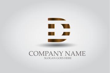 Stripes Letter D Icon Design Element Template