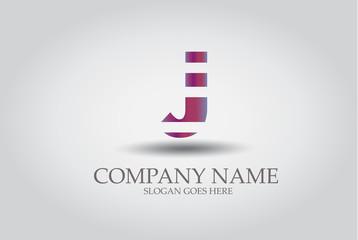 Stripes Letter J Icon  Vector Design Element Template