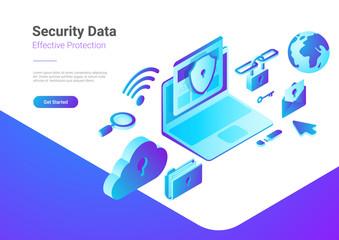 Security Data Protection Antivirus Laptop Cloud isometric vector