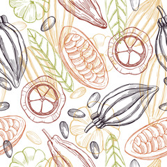 Hand drawn cocoa bean on white background. Vector seamless pattern