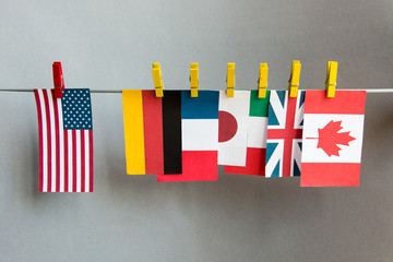 flags of countries Great 7. G7, G8  summit economic political concept
