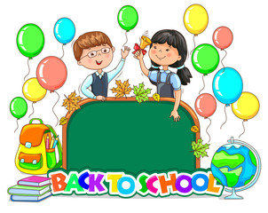 Back to school bright sign School board blank Cute children with balloons