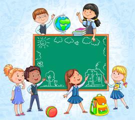 School board with cute children around draw with chalk