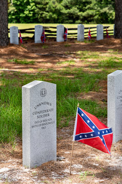 Gravestones at theBentonville Battleground in Four Oaks, NC honoring the unknown dead from  one of the last major skirmishes of the US Civil War.