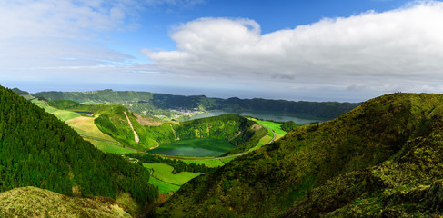 Azores, Portugal. Beautiful panoramic view on Sete Cidades lakes from the mountains on San Miguel Island