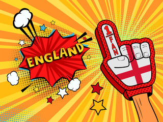 Male hand in the country flag glove of a sports fan raised up celebrating win and England speech bubble with stars and clouds. Vector colorful illustration in retro comic style