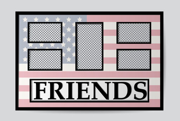 Gift frame for a photo, against the background of the American flag. A photo for friends