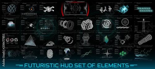futuristic hud set of elements 3d set abstract hud elements for ui