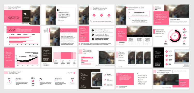 Pink presentation templates elements on a white background. Vector infographics. Use in Presentation, flyer and leaflet, corporate report, marketing, advertising, annual report, banner.