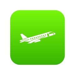 Airplane taking off icon digital green for any design isolated on white vector illustration