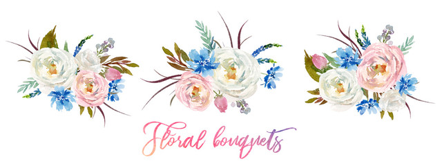 Watercolor floral set of 3 bouquets / arrangements - colorful flower illustration for wedding, anniversary, birthday, invitations, romance. Floral arrangement with flower composition.
