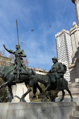 Monument to Cervantes and Don Quixote and Sancho Panza at Spain Square in City of Madrid, Spain