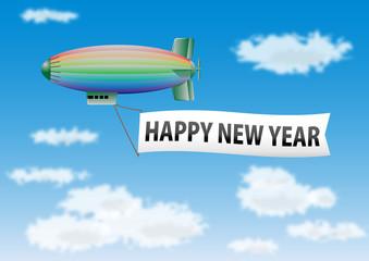 カラフルな飛行船の年賀状