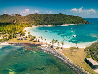 Aerial view of Mayreau beach in St-Vincent and the Grenadines - Tobago Cays. The paradise beach with palm trees and white sand beach