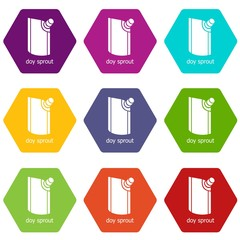 Doy pack icons 9 set coloful isolated on white for web