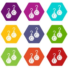 Emerald earrings icons 9 set coloful isolated on white for web
