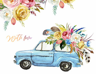 Watercolor Valentine's Day illustration w/ blue car & flower floral bouquet, corner / frame / border composition. Boho feather, arrow, romantic event, wedding invitation, hand painted colorful auto.