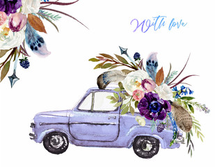 Watercolor Valentine's Day illustration w/ purple car & flower floral bouquet, corner / frame / border composition. Romance, romantic event, love card, wedding invitation, hand painted colorful auto.