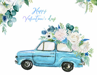 Watercolor Valentine's Day illustration with blue car & flower floral bouquet and corner / frame / border composition. Romance, romantic event, love card, wedding invitation, colorful auto, hand drawn