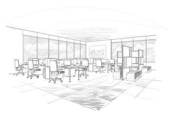 Office interior. Open space .
