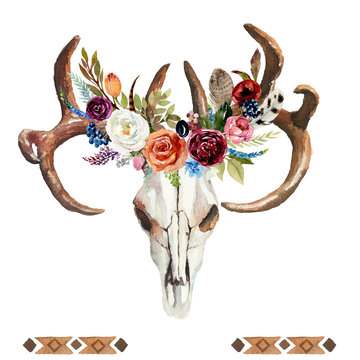 Watercolor floral boho illustration with skull, antlers, flowers & feathers - colorful bohemian flower illustration for wedding, anniversary, birthday, invitations, romance.