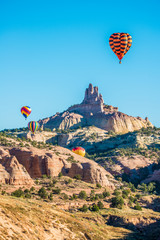 Hot Air Balloons Over Church Rock