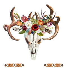 Watercolor floral boho illustration with skull, antlers, flowers, feathers, pomegranate & arrow - colorful bohemian flower illustration for wedding, anniversary, birthday, invitations, romance.