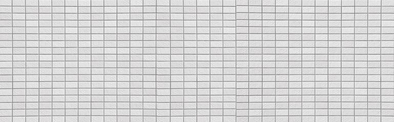 Panorama of White brick wall texture in horizontal view