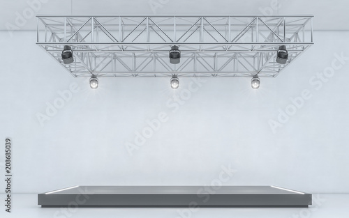 Spotlight background and lamp with stage  3d rendering