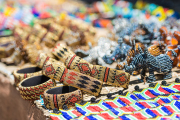Colorful African Bracelets Bead Art with shallow depth of field