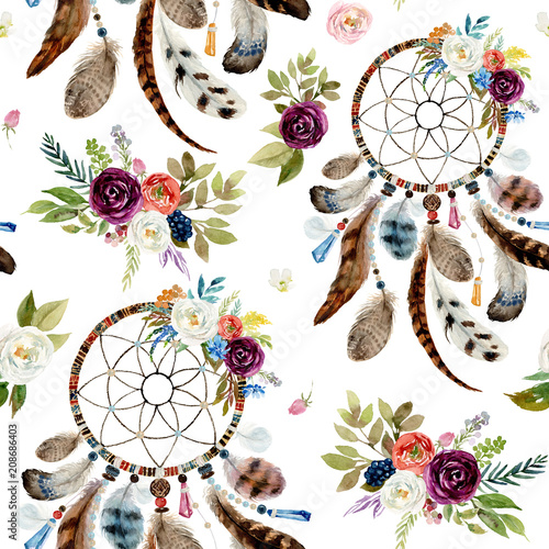 Seamless watercolor ethnic boho floral pattern - dreamcatchers and flowers on white background, Native American tribe decor, tribal navajo isolated ...