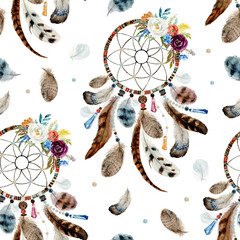 Seamless watercolor ethnic boho floral pattern - dreamcatchers and flowers on white background, Native American tribe decor, tribal navajo isolated illustration bohemian ornament, Indian, Peru, Aztec.