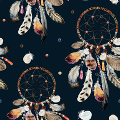 Seamless watercolor ethnic boho pattern - dream catchers and feathers on black background, Native American tribe decoration print element, isolated illustration bohemian ornament, Indian, Peru, Aztec.