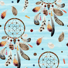 Seamless watercolor ethnic boho pattern - dream catchers and feathers on blue background, Native American tribe decoration print element, isolated illustration bohemian ornament, Indian, Peru, Aztec.