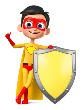 3d rendering. Boy in superhero costume with a shield.