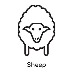 Sheep icon vector sign and symbol isolated on white background, Sheep logo concept , outline symbol, linear sign , outline symbol, linear sign