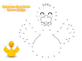 Connect The Dots and Draw Cute Cartoon Duck. Educational Game for Kids. Vector Illustration.