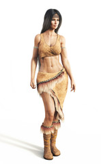 Portrait of a native American female wearing traditional dress on an isolated white background. 3d rendering