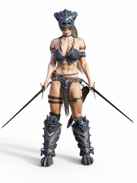 Fierce armed female warrior posing on an isolated white background. 3d rendering illustration