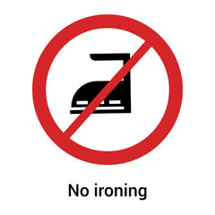 No ironing icon vector sign and symbol isolated on white background, No ironing logo concept
