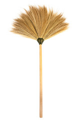 Broom stick isolated on white background.Straw broomstick isolated
